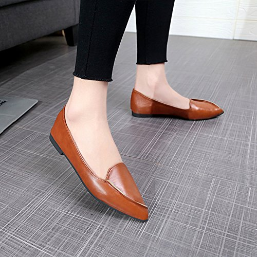 Women's Toe Shoes JULY Slip Flat On Ballet Brown Pointed T Soft Hq5xXaFxw