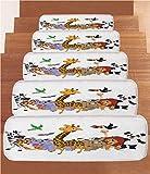 iPrint Non-Slip Carpets Stair Treads,Kids,Colorful Jungle Animals Hippo Bat Parrot Giraffe Zebra Rhino Panda African Safari Themed Decorations Decorative,(Set of 5) 8.6''x27.5''