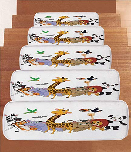iPrint Non-Slip Carpets Stair Treads,Kids,Colorful Jungle Animals Hippo Bat Parrot Giraffe Zebra Rhino Panda African Safari Themed Decorations Decorative,(Set of 5) 8.6''x27.5'' by iPrint