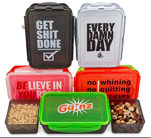 5 pack Reusable Meal Prep Containers, 5 Colors & 5 Logos - Hydra Prep, 30oz Food Storage Containers, BPA FREE, set with lids, Microwave Safe. (5, Multi 5 colors)