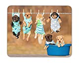 "The funny puppy is drying on the rope Mouse Pad mouse mouse pad Mouse Pad Pad Office Mouse Pad Gaming Mouse Pad Mat Mouse Pad mousepad Dimension: 9.5"" x 7.9"""