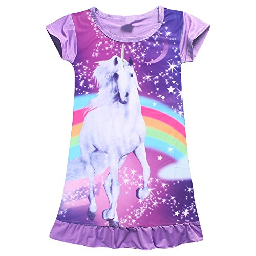2Bunnies Girls Unicorn Star Rainbow Print Nightgown Nightie