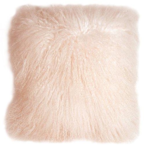 Lambswool Pillow (Pillow Decor Brand - Genuine Mongolian Sheepskin Pastel Pink Throw Pillow)