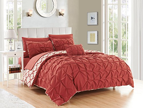 Chic Home 4 Piece Zissel Pleated Pintuck and Printed Reversible with Elephant Embroidered Pillow King Duvet Cover Set Brick