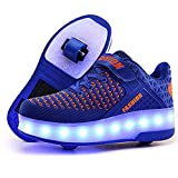 laideqi USB Charging LED Roller Skate Shoes Light Up Glowing Flashing Sneakers for Kids(Blue 2 Wheels 28 M EU/11.5 M US Little Kid)
