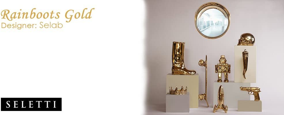 SELETTI Portaombrelli in Porcellana Rainboots Cm.20X27,5 H.36-Oro
