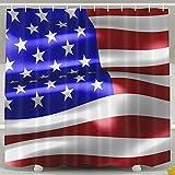 BINGO FLAG Funny Fabric Shower Curtain USA Flag Stars And Stripes Waterproof Bathroom Decor With Hooks 60 X 72 Inch