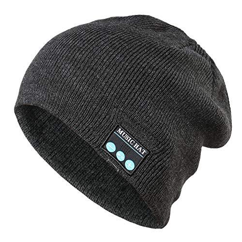 Men's Bluetooth Beanie Hat Cap Clearance- Iuhan Bluetooth Wireless Warm Beanie Hat Handsfree Music Cap Headphone Headset Christmas Gift Hands Free Talking for Women Men (Dark Gray)