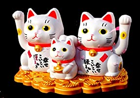 Cute Toy or Gift for Attract Wealth Business Luck Money QOCOO Office Home Car Feng Shui Decor Ornament Statue Sculpture Japanese Maneki Neko Solar Lucky Cat Waving Arm Decorative Figurine