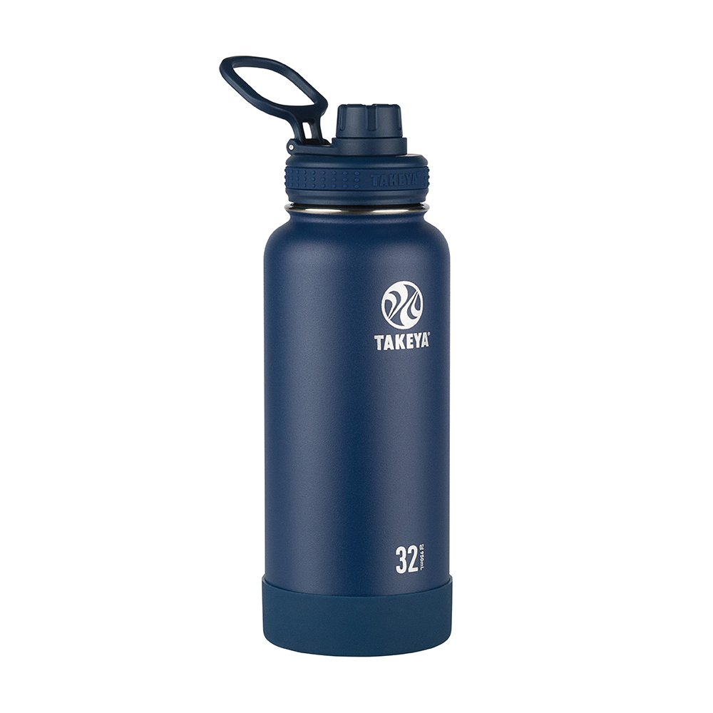 Takeya 51024 Actives Insulated Stainless Steel Water Bottle with Spout Lid, 32 oz, Midnight