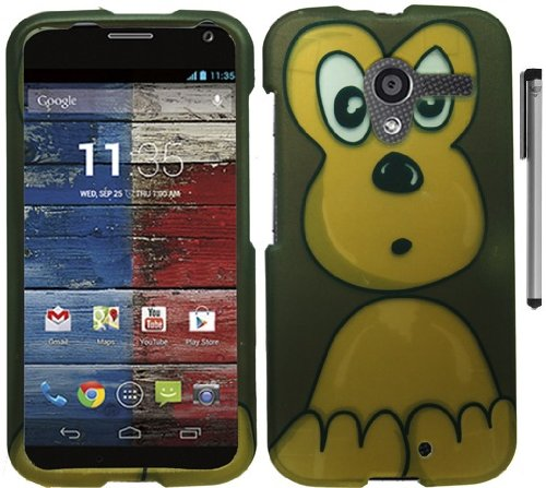 For Motorola Moto X XT1058 Animal Design Hard Cover Case with ApexGears Stylus Pen (Brown Monkey)