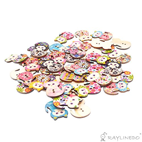 s Buttons Multi Color Beautiful Cute Cat Shape Delicate Wood Buttons DIY Buttons for Sewing and Crafting (Fabric Cat Button)