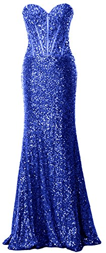 MACloth Women Mermaid Prom Dress Strapless Sequin Long Formal Party Evening Gown Azul Real