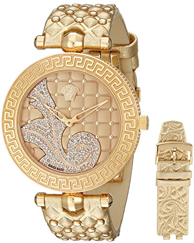 Versace Women's VK7180014 Vanitas Rose Gold Ion-Plated Stainless Steel Watch with Diamond Accents and Two Interchangeable Leather Bands