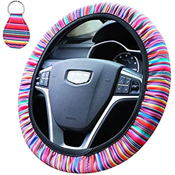 15 inch Leopard Steering Wheel Covers Neoprene Automotive Steering Cover with 1 Pcs Key Chain Accmor Universal Steering Wheel Cover Anti Slip Sweat Absorption Sweat Car Wheel Covers for Women Girls