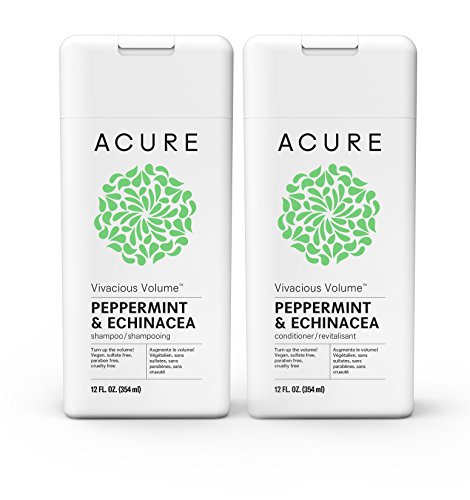 Acure Vivacious Volume Peppermint Shampoo & Conditioner, 12 Fluid Ounce