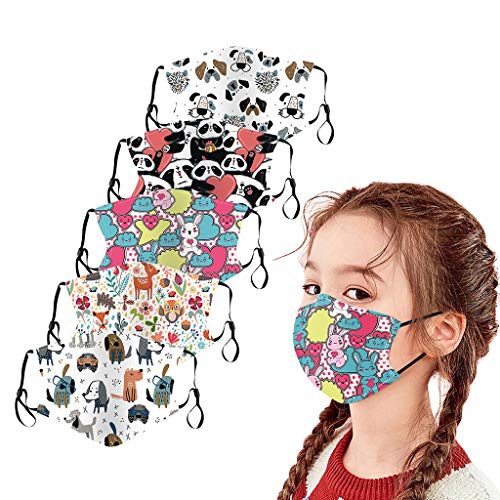 5PC Kids Cotton Face covering Washable UK Reusable Breathable Mouth Nose Face Covering Bandana (A-1-Cartoon series)