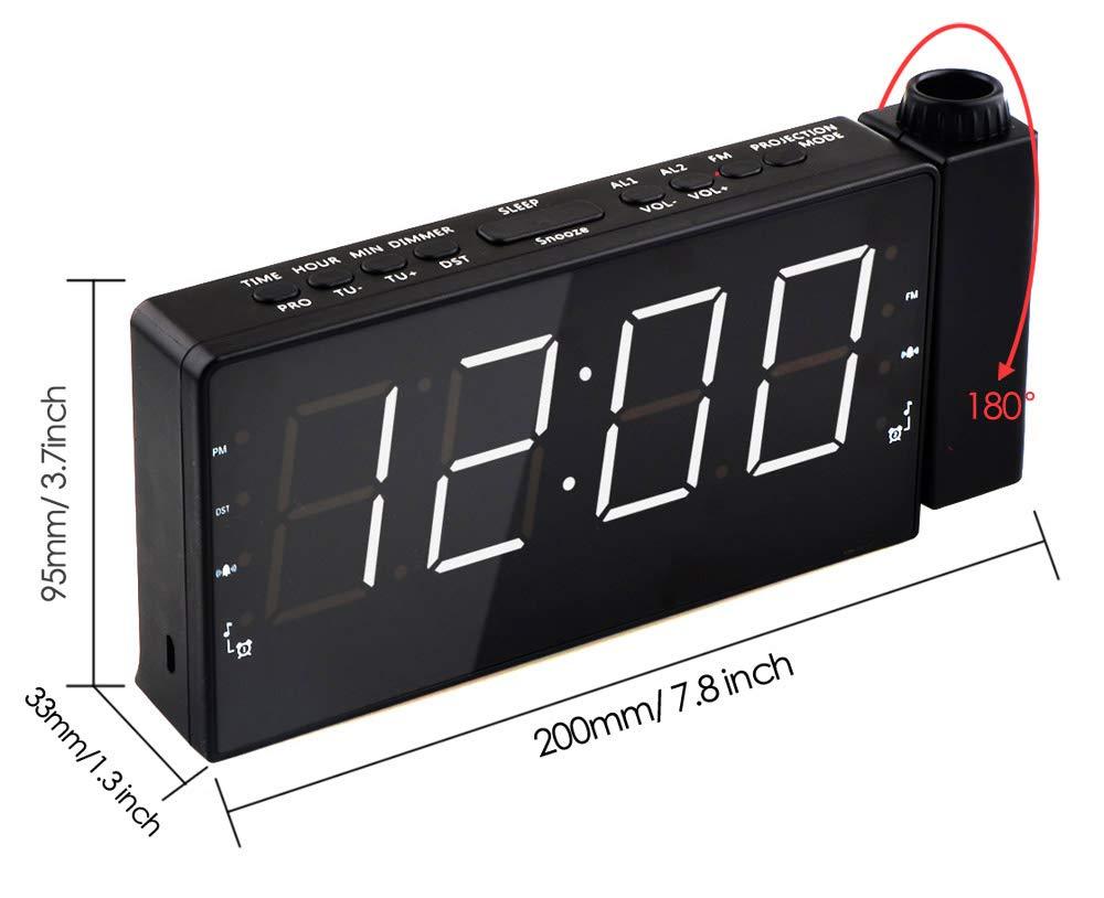 HaoYaa Radio R/éveil /à Projection FM avec 2 R/éveils Grand Afficheur LED de 7 Pouces avec Variateur USB Port pour Smartphone Fonction Snooze