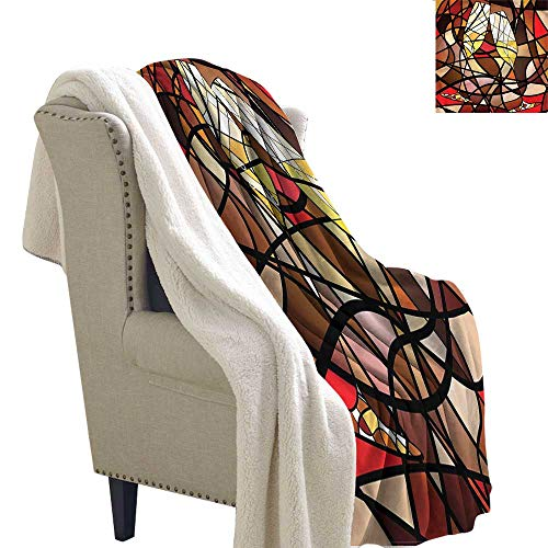 AndyTours Fleece Blanket Winery Champagne Glasses Mosaic Blanket for Family and Friends W59 x L47