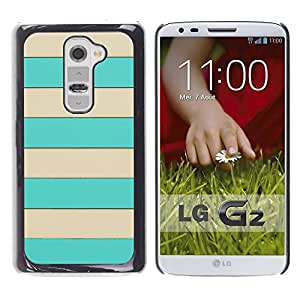 LASTONE PHONE CASE / Slim Protector Hard Shell Cover Case for LG G2 D800 D802 D802TA D803 VS980 LS980 / Cool Beige Lines Horizontal Summer Pattern