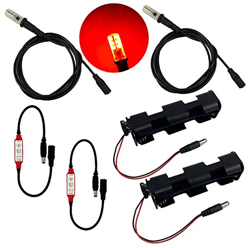 Flame Lighting Effect (Red LED 2 kits flame lighting with flicker effects control 12V DC and 5 foot cable sockets - simulation of fake fire flames coal for props theatrical scenery escape rooms lanterns torches)