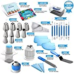 Frostinc Perfectly Assorted Cake Decorating Supplies 34 Pcs Kit - 10 Russian & Cone Icing Tips with 2 Couplers, 2 Reusable & 6 Disposable Piping Bags, 8 Model Tools, Scrapers & BONUS Items 10 ✅ PERFECTLY ASSORTED - Why buy expensive store-bought cakes? Frostinc provides all the cake tools you need to shape and decorate cake after cake with the added ENJOYMENT for less. Create the most diverse cake frosting designs with us. Unlike other kits, we've specially selected cake decorating supplies for your kitchen in this AMAZING bundle - achieve the best results to wow your friends and family. ✅ GREAT TASTE - When it comes to cake and cupcake decorating, you need the right tools in one set. Pipe and decorate with 4x russian icing tips, 6x cone icing tips, 2x couplers, 8x modelling tools, 2x heavy-duty reusable and 6x lightweight disposable piping bags, 3x cake levellers, 1x cupcake corer, 1x mini spatula, 1x instruction manual, 1x storage box and a complimentary cleaning brush. ✅ FREE GUIDE INSIDE - Buying for a child with no experience whatsoever? With such a GREAT selection of cake modelling and shaping tools, we want the task to be easy for you and those receiving your gift. Rest assured that our kit arrives with a printed instruction manual in addition to a handy ebook containing tips & recipes emailed directly to you. All of our kits have a LIFETIME WARRANTY so that you can decorate in confidence.