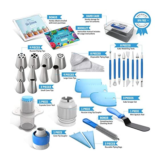 Frostinc Perfectly Assorted Cake Decorating Supplies 34 Pcs Kit - 10 Russian & Cone Icing Tips with 2 Couplers, 2 Reusable & 6 Disposable Piping Bags, 8 Model Tools, Scrapers & BONUS Items 2 ✅ PERFECTLY ASSORTED - Why buy expensive store-bought cakes? Frostinc provides all the cake tools you need to shape and decorate cake after cake with the added ENJOYMENT for less. Create the most diverse cake frosting designs with us. Unlike other kits, we've specially selected cake decorating supplies for your kitchen in this AMAZING bundle - achieve the best results to wow your friends and family. ✅ GREAT TASTE - When it comes to cake and cupcake decorating, you need the right tools in one set. Pipe and decorate with 4x russian icing tips, 6x cone icing tips, 2x couplers, 8x modelling tools, 2x heavy-duty reusable and 6x lightweight disposable piping bags, 3x cake levellers, 1x cupcake corer, 1x mini spatula, 1x instruction manual, 1x storage box and a complimentary cleaning brush. ✅ FREE GUIDE INSIDE - Buying for a child with no experience whatsoever? With such a GREAT selection of cake modelling and shaping tools, we want the task to be easy for you and those receiving your gift. Rest assured that our kit arrives with a printed instruction manual in addition to a handy ebook containing tips & recipes emailed directly to you. All of our kits have a LIFETIME WARRANTY so that you can decorate in confidence.