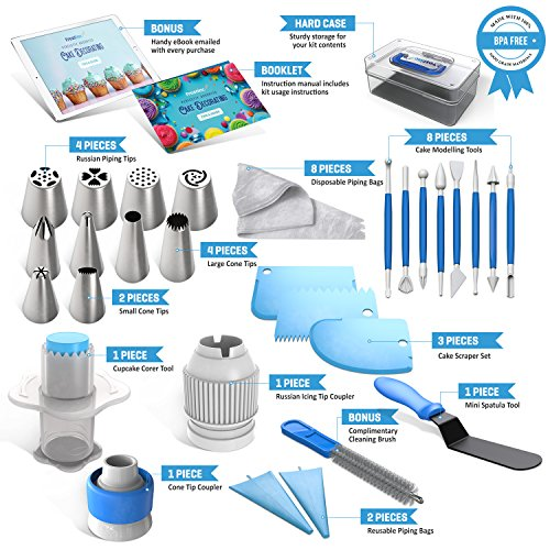 Frostinc Perfectly Assorted Cake Decorating Supplies 34 Pcs Kit - 10 Russian & Cone Icing Tips with 2 Couplers, 2 Reusable & 6 Disposable Piping Bags, 8 Model Tools, Scrapers & BONUS Items by Frostinc (Image #1)