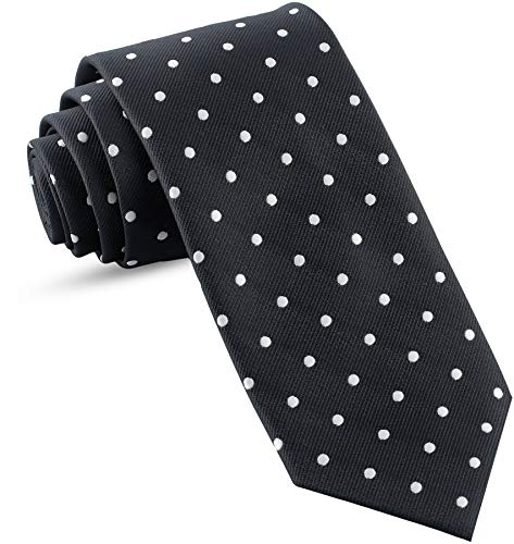 Handmade Ties For Men: Skinny Woven Slim Tie Mens Ties: Thin Necktie, Solid Color Neckties For Every Outfit (Dots - Black & White - 3