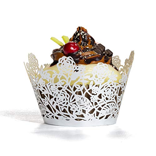 YOZATIA 60pcs Silver Rose Lace Cupcake Wrappers Holders,