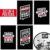 Set of Four Fitness Motivational Posters. Wall Art Inspiration and Quote Decals with Workout Quotes and No Excuses Inspirational Images. No Pain No Gain Prints Great as a Gift for Teens. 11x17 Posters