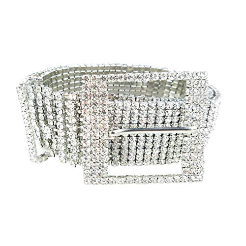 - Women's Crystal Rhinestone Chain Waist Buckle Belt Luxury Sparkling Sash Waistband Accessory,Silver