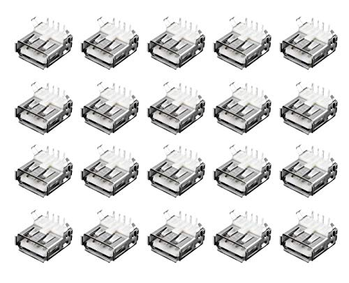Karcy 20pcs 4 Pin USB Right Angle Type-A Standard Female PCB Mount Socket Plug Connector