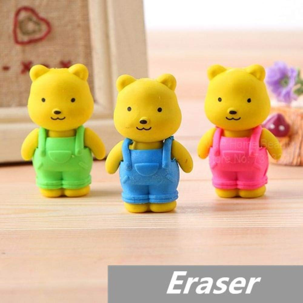 30 pcs/Lot Teddy bear Erasers rubber for pencil Removable BIB PANTS Novelty Toy gift stationery Office supplies by PomPomHome (Image #1)
