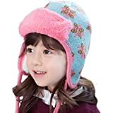 TRIWONDER Winter Hats for Kids Beanie Knit Cap Pom Pom Hat Wool Ski Cap (Blue - Fleece)
