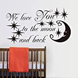 Witkey We Love you to the moon and back with star and moon DIY Removable Kids room baby's room bedroom Wall Sticker Home Decor Decals Art Quote DIY Mural (We Love you to the moon and back)