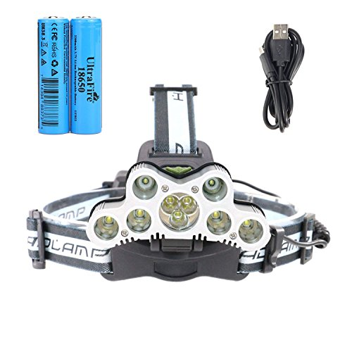 UltraFire Rechargeable Headlamp 2000 Lumens 6 Lighting Modes With 18650 Battery and USB Charging Cable.Bright Headlight Flashlight Great For Hunting,Camping,Hiking & More Outdoor Sports