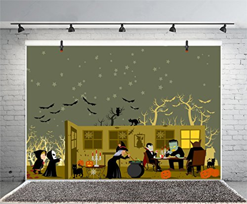 Leyiyi 6x4ft Photography Background Happy Halloween Backdrop Pumpkin Lamp Witch Zombie Dinner Cats Town House Trees Silhouette Round Moon Horror Night Costume Canival Photo Portrait Vinyl Studio Prop]()