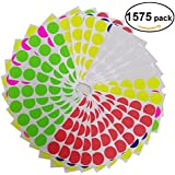 Brothersbox Round Write Color Coding Labels Neon Colors, Dia 0.75 Inches, Pack of 1575, Garage Sales Stickers