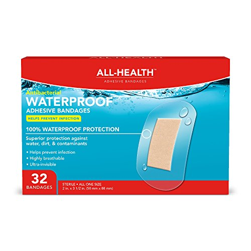 All-Health Antibacterial Clear Waterproof Adhesive Bandages, 2 x 3-1/2 inch, 32 Count