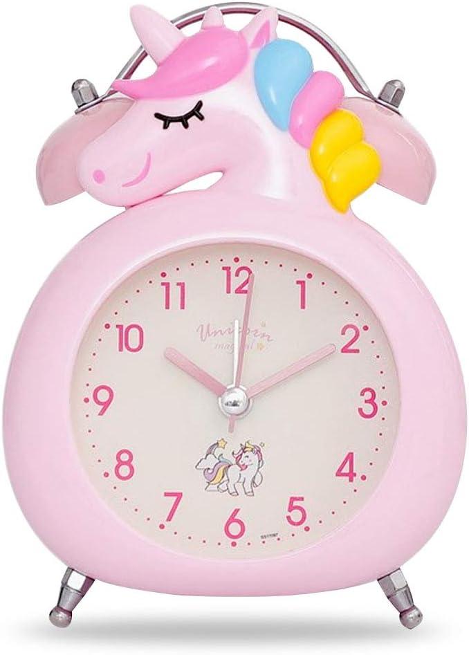 WENTS R/éveil pour Enfants avec Veilleuse et Alarme R/éveil Licorne,R/éveil /à Double Cloche Silencieux Facile /à Installer et /à Piles Rose