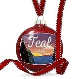 Christmas Decoration Lake retro design Teal Lake Ornament
