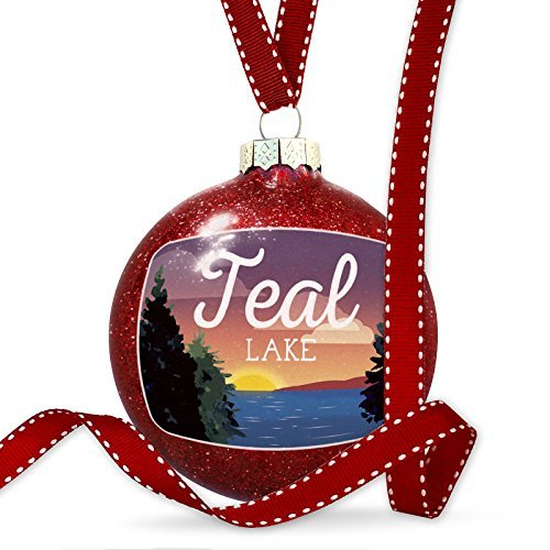 Christmas Decoration Lake retro design Teal Lake Ornament by Acove