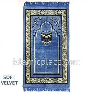 Blue Prayer Rug with Kaba (Soft Velvet)