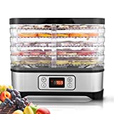 Food Dehydrator Machine for Meat Beef Fruit Vegetable, with 5 Stackable Trays, Digital Temperature Settings and Timer