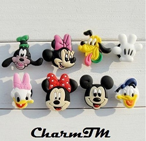 Set of 8 Mickey Minnie Mouse Jibbitz (Generic) PVC Jibbitz Crocs Natives Party Favors by (Mouse Shoe Charms)