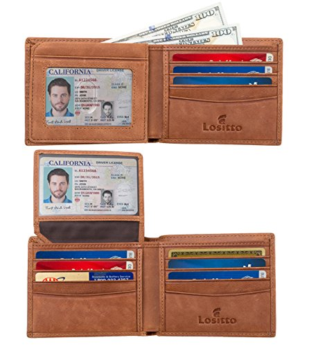 Distressed Leather Bi Fold (Lositto 2 ID Window RFID Wallet for Men, Bifold Wallet, Sleek and Stylish Gift for Men, Multi Card Extra Capacity Travel Wallet (Large, Desert Brown-Distressed full grain leather))