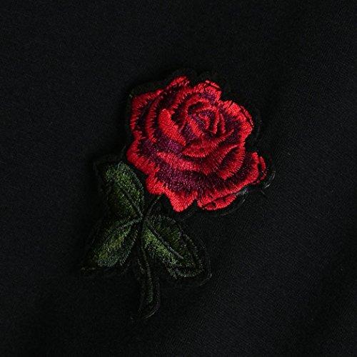 Vetements Chic Femmes Casual Rond Adeshop Pure Shirt Courtes Loose Design Rose T Couleur Bon Noir Tops Fleur Nœud Manches Court Col Vest Blouse Marché D'été Papillon SqqCgw