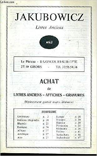 Amazon Fr Catalogue De La Librairie Jakubowicz Livres