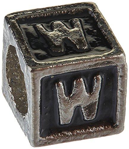 Buckets of Beads Enamel Letter Bead Charm, Monogram W, (Black Enamel Letter Charm)